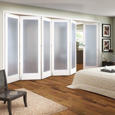 Jeld-Wen White Primed Shaker 1L Obscure Glazed 6 Door (5+1) Roomfold