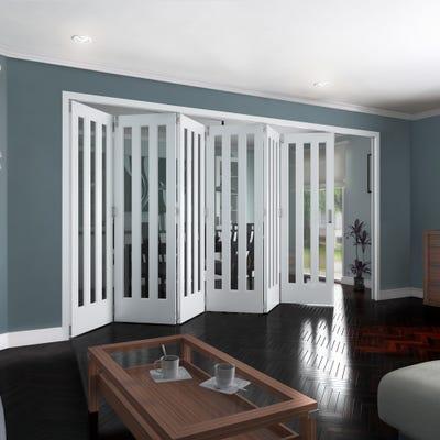 Jeld-Wen Internal White Primed Aston 3L Clear Glazed 6 Door Roomfold 2047 x 4227 x 92mm