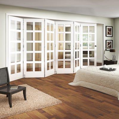 Jeld-Wen Internal White Primed Shaker 10L Clear Glazed 6 Door Roomfold
