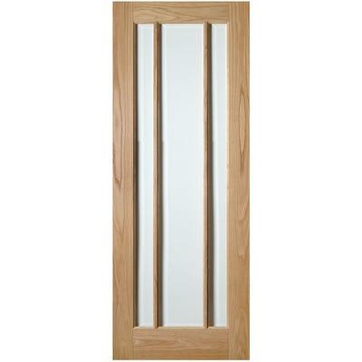 Deanta Internal Oak Norwich 3L Clear Glazed Door