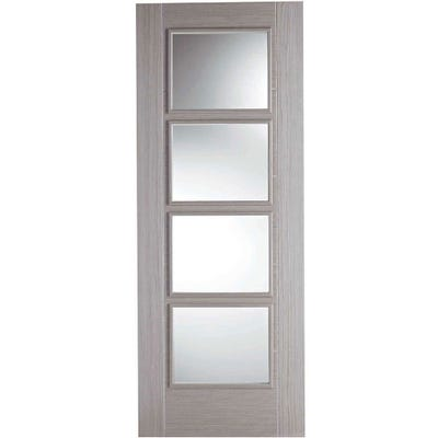 LPD Internal Light Grey Vancouver Prefinished 4L Clear Glazed Door