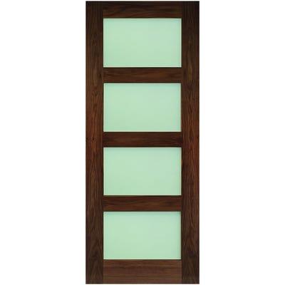 Deanta Internal Walnut Coventry 4L Prefinished Frosted Glazed Door 1981 x 762 x 35mm