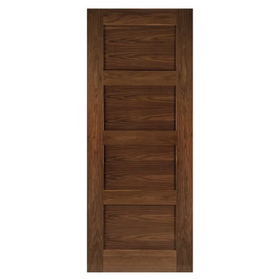 Deanta Internal Walnut Coventry 4 Panel Prefinished FD30 Fire Door