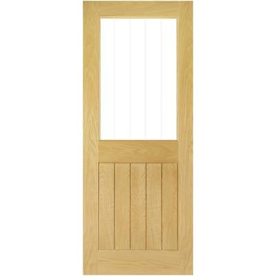 Deanta Internal Oak Ely 1L Prefinished Half Etched Glazed Door