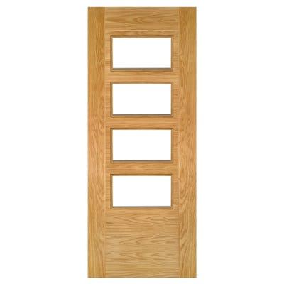 Deanta Internal Oak Seville 4L Prefinished Clear Glazed Door