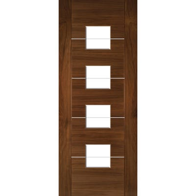 Deanta Internal Walnut Valencia 4L Prefinished Clear Glazed Door
