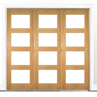 Deanta Internal Oak Coventry Prefinished Clear Glazed 3 Door Room Divider 2060 x 1908 x 133mm