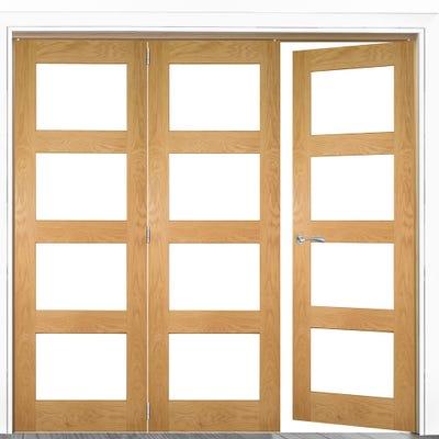 Deanta Internal Oak Coventry Prefinished Clear Glazed 3 (2+1) Door Room Divider 2060 x 1908 x 133mm