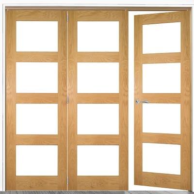 Deanta Internal Oak Coventry Prefinished Clear Glazed 3 (2+1) Door Room Divider 2060 x 2136 x 133mm
