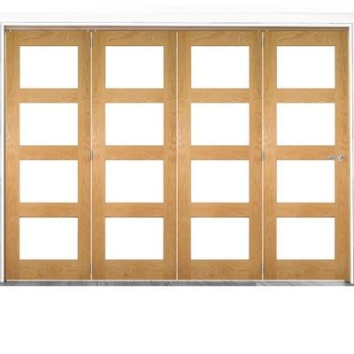 Deanta Internal Oak Coventry Prefinished Clear Glazed 4 Door Room Divider 2060 x 2825 x 133mm