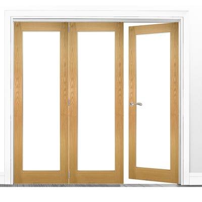 Deanta Internal Oak Walden Pattern 10 Clear Glazed 3 (2+1) Door Room Divider 2060 x 1908 x 133mm