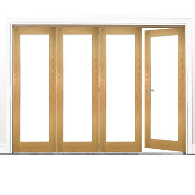 Deanta Internal Oak Walden Pattern 10 Clear Glazed 4 (3+1) Door Room Divider 2060 x 2521 x 133mm