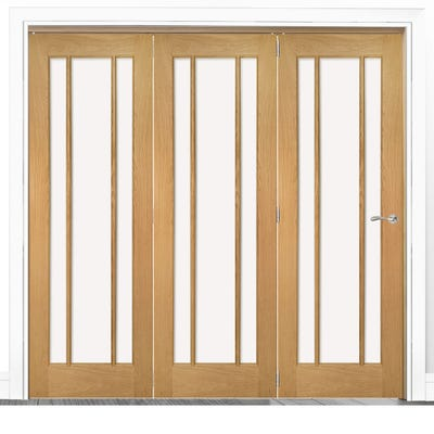 Deanta Internal Oak Norwich Clear Glazed 3 Door Room Divider 2060 x 1908 x 133mm