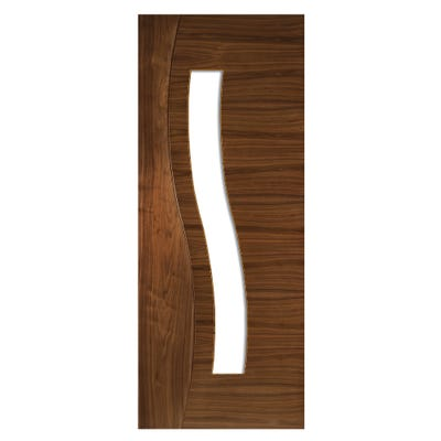 Deanta Internal Walnut Cadiz 1L Prefinished Clear Glazed Door