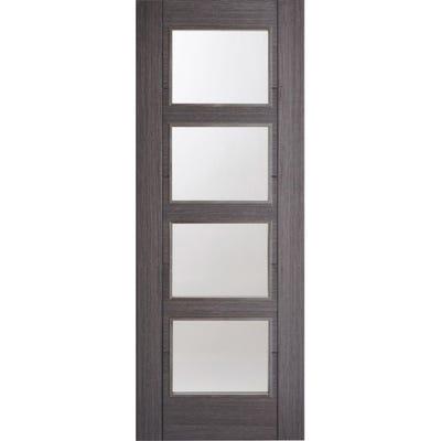 LPD Internal Ash Grey Vancouver Prefinished 4L Clear Glazed Door