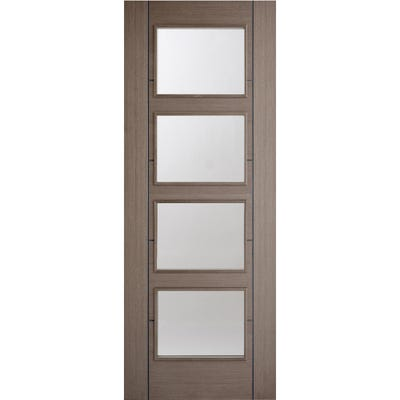 LPD Internal Chocolate Grey Vancouver Prefinished 4L Clear Glazed Door