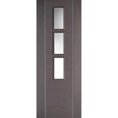 LPD Internal Chocolate Grey Alcaraz Prefinished 3L Clear Glazed Door