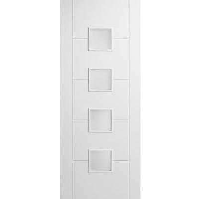 LPD Internal White Primed Vancouver 4L Obscure Glazed Door