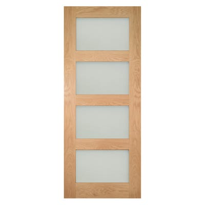 Deanta Internal Oak Coventry 4L Prefinished Frosted Glazed Door