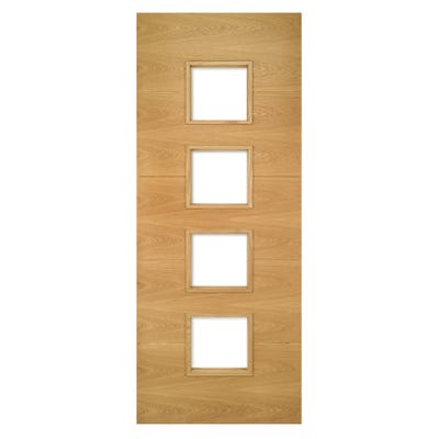 Deanta Internal Oak Augusta 4L Prefinished Clear Glazed FD30 Fire Door