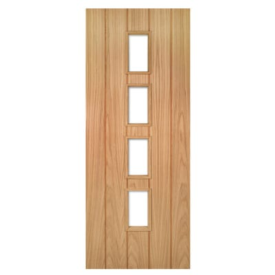 Deanta Internal Oak Galway 4L Clear Glazed Door