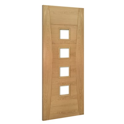 Deanta Internal Oak Pamplona 4L Prefinished Clear Glazed FD30 Fire Door