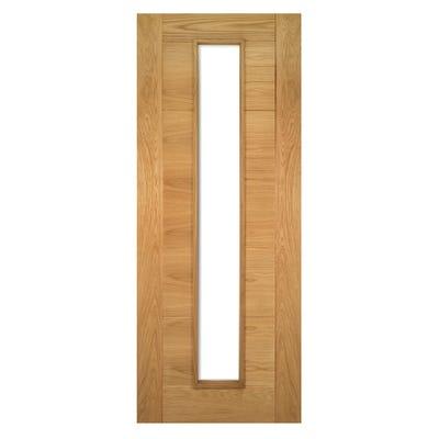 Deanta Internal Oak Seville Prefinished 1L Clear Glazed Door