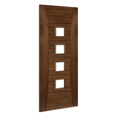Deanta Internal Walnut Pamplona 4L Prefinished Clear Glazed FD30 Fire Door