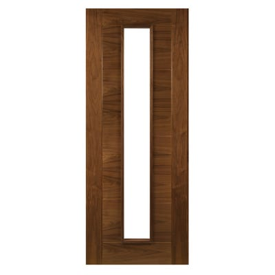 Deanta Internal Walnut Seville Prefinished 1L Clear Glazed Door