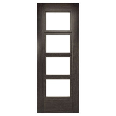 Deanta Internal Dark Grey Ash Montreal 4L Prefinished Clear Glazed FD30 Fire Door