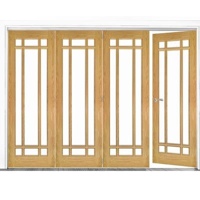 Deanta Internal Oak Kerry Clear Glazed 4 (3+1) Door Room Divider 2060 x 2825 x 133mm