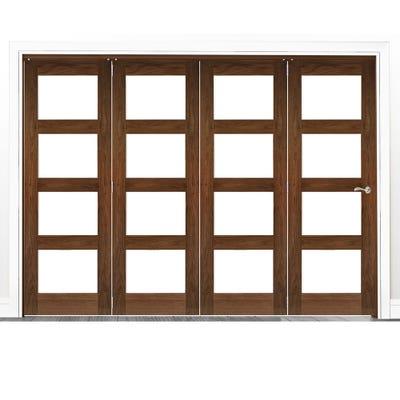 Deanta Internal Walnut Coventry Prefinished Clear Glazed 4 Door Room Divider 2060 x 2521 x 133mm