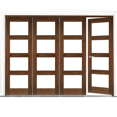 Deanta Internal Walnut Coventry Prefinished Clear Glazed 4 (3+1) Door Room Divider 2060 x 2521 x 133mm