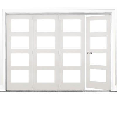 Deanta Internal White Primed Coventry Clear Glazed 4 (3+1) Door Room Divider 2060 x 2825 x 133mm