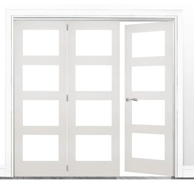 Deanta Internal White Primed Coventry Frosted Glazed 3 (2+1) Door Room Divider 2060 x 1908 x 133mm