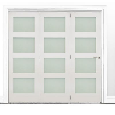 Deanta Internal White Primed Coventry Frosted Glazed 3 Door Room Divider 2060 x 2136 x 133mm