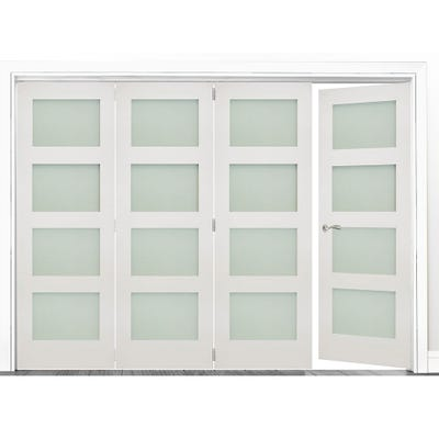 Deanta Internal White Primed Coventry Frosted Glazed 4 (3+1) Door Room Divider 2060 x 2825 x 133mm
