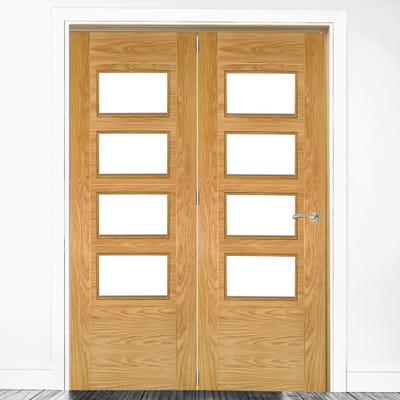 Deanta Internal Oak Seville Prefinished Clear Glazed 2 Door Room Divider 2060 x 1447 x 133mm