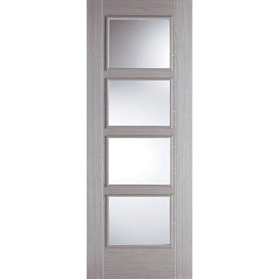 LPD Internal Light Grey Laminate Vancouver Prefinished 4L Clear Glazed Door