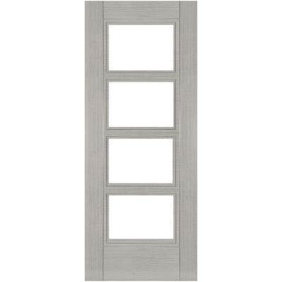 Deanta Internal Light Grey Ash Montreal 4L Prefinished Clear Glazed Door