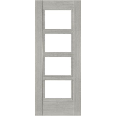 Deanta Internal Light Grey Ash Montreal 4L Prefinished Clear Glazed FD30 Fire Door
