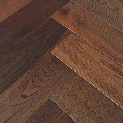 Elka 14 x 120mm Dark Smoked Oak Brushed and Oiled Herringbone Engineered Wood Flooring ELKA14HBDSOAK
