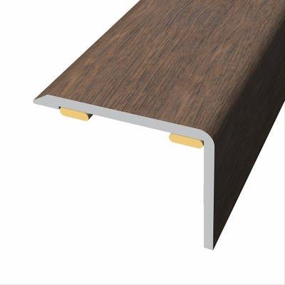 Laminate Stickdown Threshold Stair Nosing Dark Walnut 2.7m