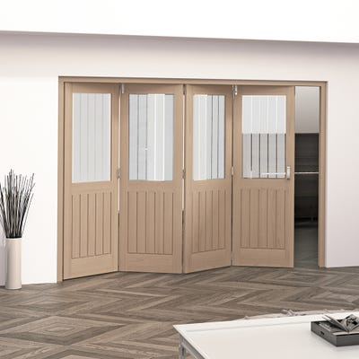 Jeld-Wen Internal Oak Oregon Cottage Etched Glazed 4 Door Roomfold 2047 x 2849 x 92mm