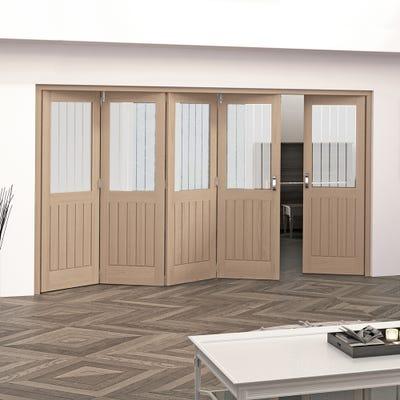 Jeld-Wen Internal Oak Oregon Cottage Etched Glazed 5 Door (4+1) Roomfold 2047 x 3538 x 92mm