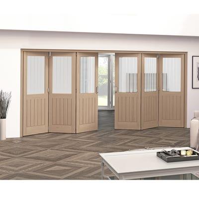 Jeld-Wen Internal Oak Oregon Cottage Etched Glazed 6 Door (3+3) Roomfold 2047 x 4227 x 92mm