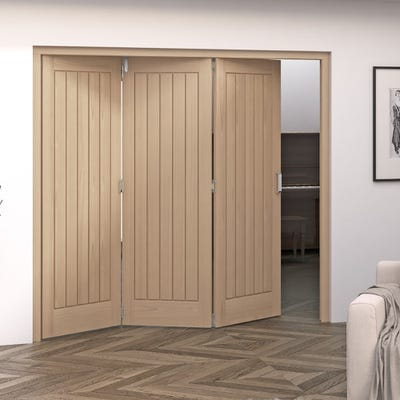 Jeld-Wen Internal Oak Oregon Cottage 5 Panel 3 Door Roomfold 2047 x 2157 x 92mm