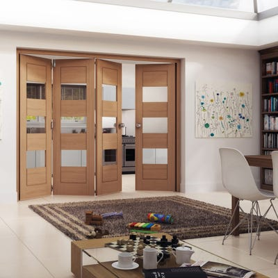 Jeld-Wen Oak Oregon Cottage Horizontal Clear Glazed 4 Door (3+1) Roomfold