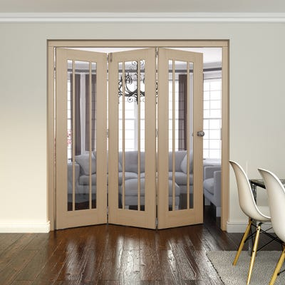 Jeld-Wen Internal Oak Worcester Clear Glazed 3 Door Roomfold