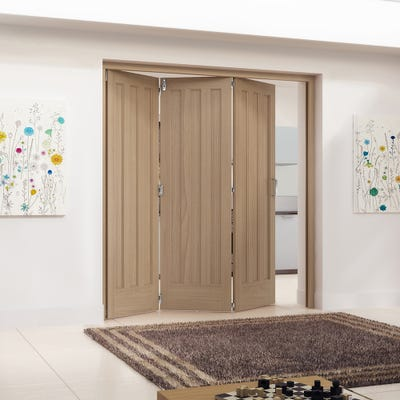 Jeld-Wen Internal Oak Aston 3 Panel 3 Door Roomfold 2047 x 2157 x 92mm